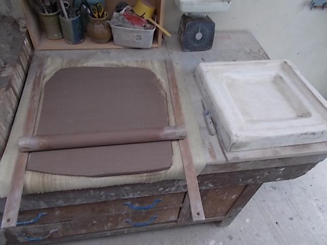 Clay slab rolling