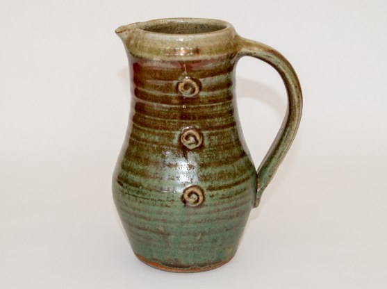 Jug with sprigged decoration, copper and white slips, wood ash glaze, Martin Tyler 2018