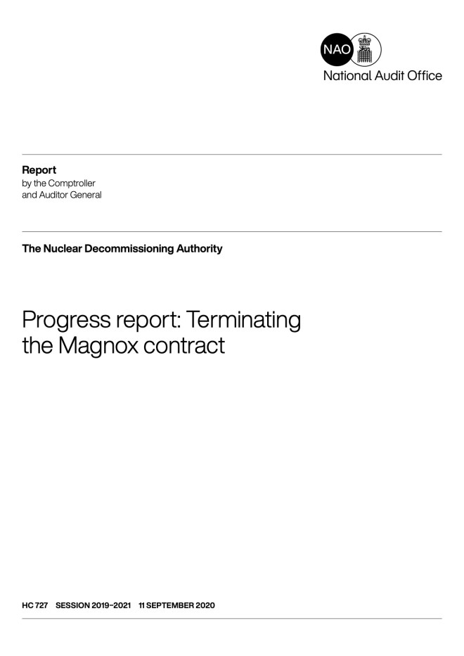 Image of front cover of NAO report 'Progress report: Terminating the Magnox contract'. Click on the image to go to the NAO website to download the report.
