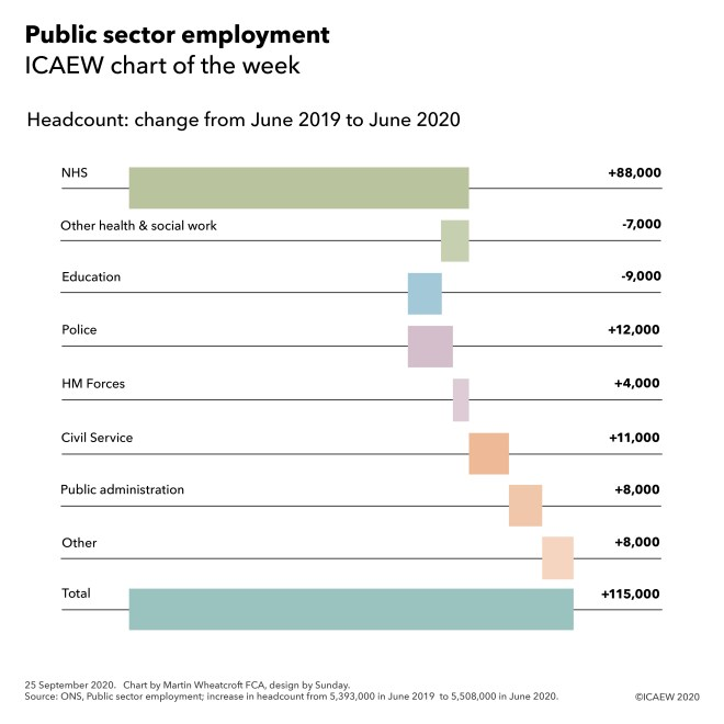 Chart showing change in headcount from June 2019 to 2020: NHS +88k, other health & social work -7k, education -9k, police +12k, forces +4k, civil service +11k, public admin +8k, other +8k = +115k.