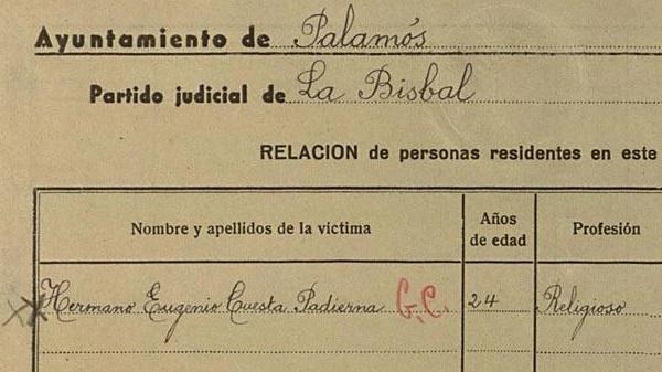 Registro del martirio del hermano Eugenio Cuesta.