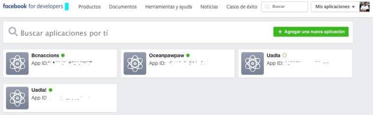 Panel de aplicaciones de facebook