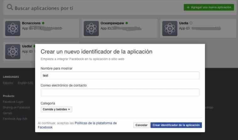 PAso 1 creación de App Facebook