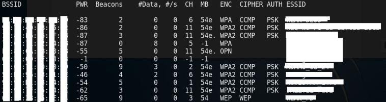Lista de puntos de acceso obtenidos con airodump-ng