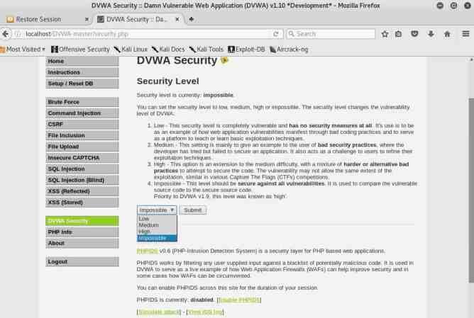 Pantalla donde se define la seguridad con la que trabajará DVWA