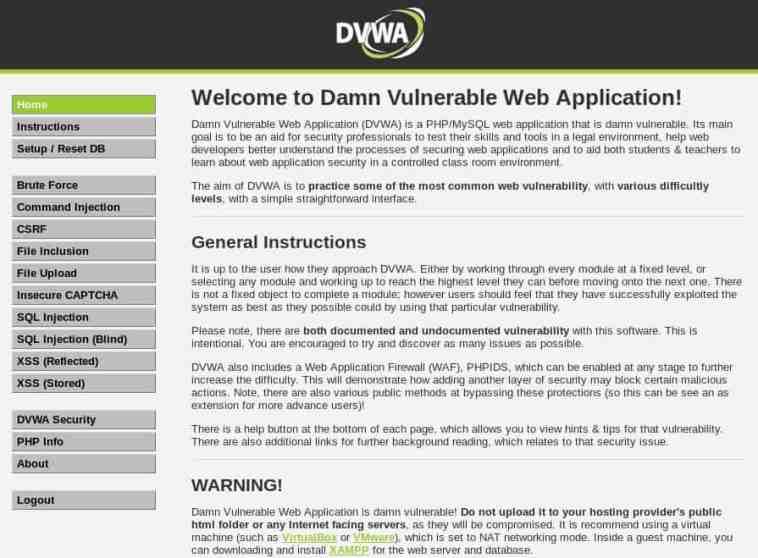 Pantalla de inicio de DVWA