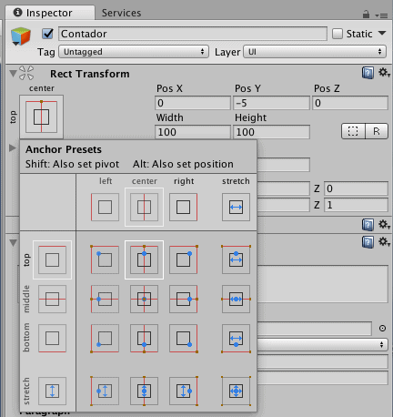 Unity Set Recttransform Position