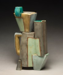 "Coffee Pot Construction. 2013. 13""h x 9""w x 7""d Hand built cone 1 red clay, terra sigillata, underglaze, and glaze, electric fired."