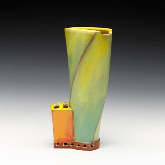 "Vase. 2015. 11""h x 6""w x 4.5""d Hand built cone 3 red clay, underglaze and glaze. Electric fired. Photo by Anthony Schaller."