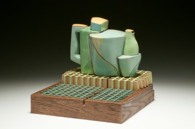 "Teapot and Platform. 2015. 10""h x 12""w x 12""d Hand built cone 3 red clay, terra sigillata and glaze. Electric fired. Laser cut and assembled oak, oil paint."
