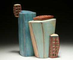 "Intersecting Container. 2015. 13""h x 13""w x 7""d Hand built cone 3 red clay, terra sigillata and glaze. Electric fired. Photo by Charlie Cummings."