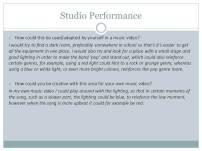 Studio Performance pt. 2