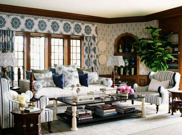 Greystone Mansion living room, designed by Martyn Lawrence Bullard. Sultan Suzanni fabric by MLB.