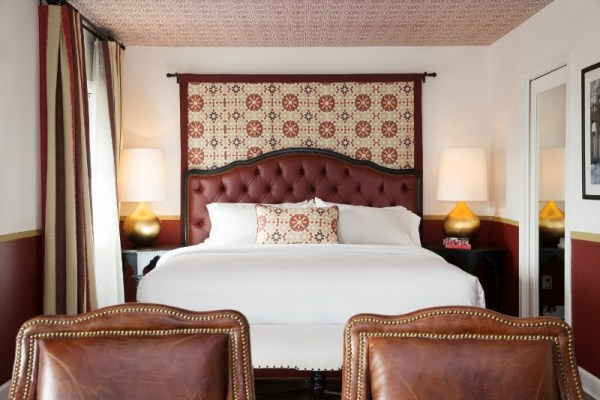 Casa Laguna bedroom designed by Martyn Lawrence Bullard. Marrakesh fabric by MLB