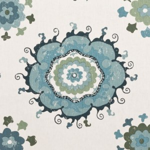 Sultan Suzanni Blue indoor fabric by Martyn Lawrence Bullard