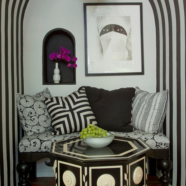 Eros Stripe Ebony black indoor fabric at Watsonia in West Hollywood, designed by Martyn Lawrence Bullard