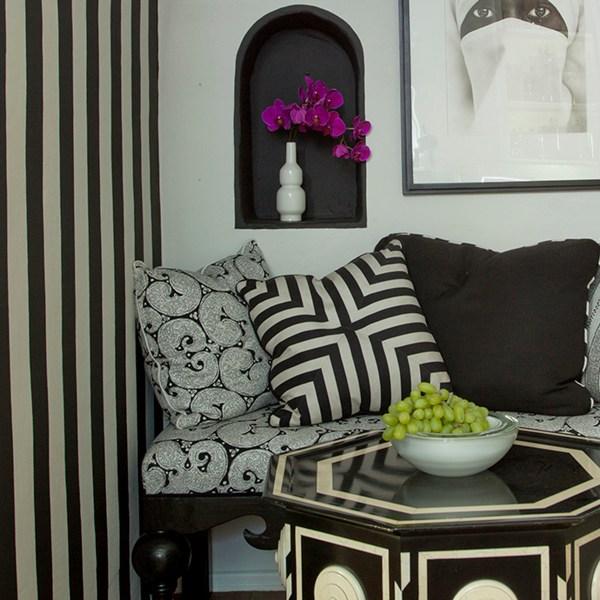 Mykonos Ebony black indoor fabric by Martyn Lawrence Bullard