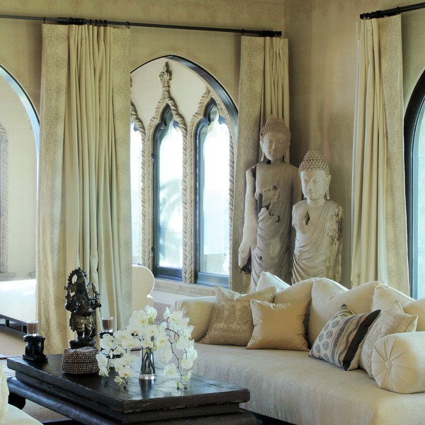 Fez Border Tobacco brown indoor fabric at Cher's house, designed by Martyn Lawrence Bullard