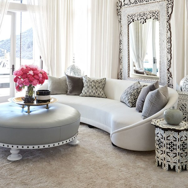 Khloe Kardashian's living room designed by Martyn Lawrence Bullard. Zebide baltic indoor fabric on pillows