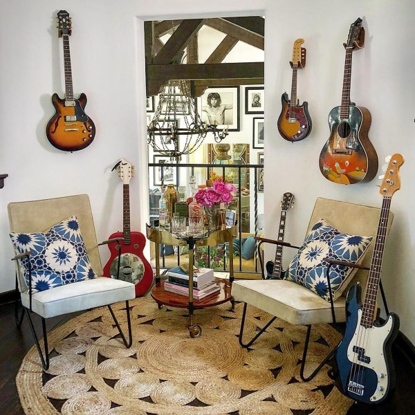 Shambala Indian Ocean indoor fabric on pillows in Alessandra Ambrosio guitar nook. Designed by Martyn Lawrence Bullard