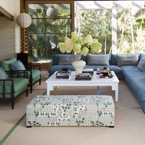 Halcyon Evergreen green indoor fabric in Malibu living room. Fabric by Martyn Lawrence Bullard