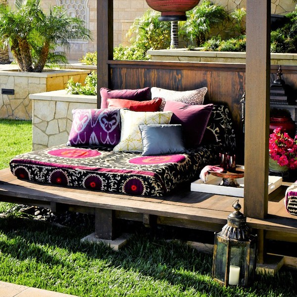 Kabba Kabba yellow dots outdoor fabric on cabana daybed, designed by Martyn Lawrence Bullard