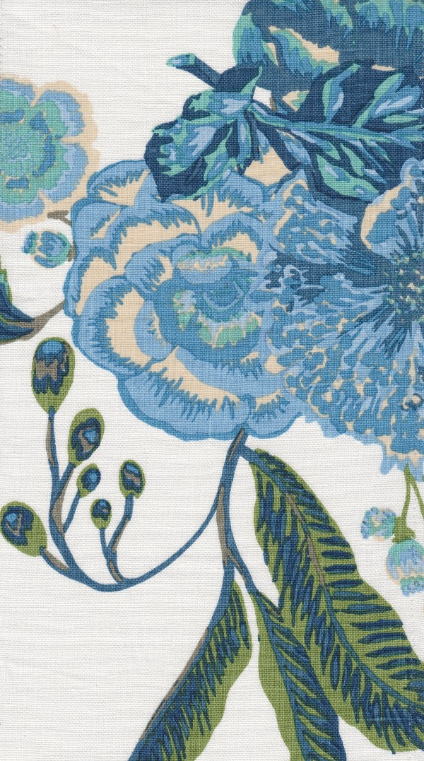 Bahia Bouquet blue indoor fabric by Martyn Lawrence Bullard