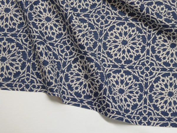 Mamounia Petite indigo Indoor/Outdoor Performance Woven fabric by Martyn Lawrence Bullard