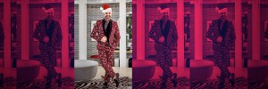 Interior designer Martyn Lawrence Bullard in a red holiday suit