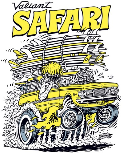 Retro Ed Roth Style Valiant AP6 Safari Wagon cartoon drawing by Marty Schneider