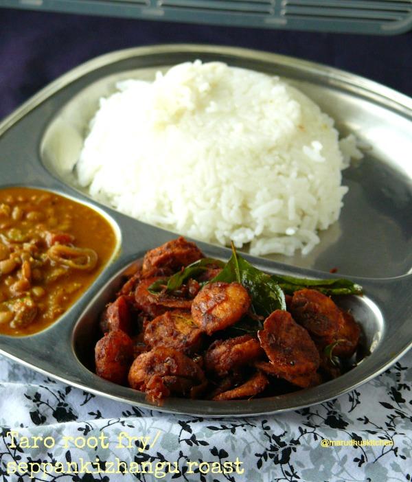 taro root fry/seppankizhangu roast( Colocasia/Arbi)