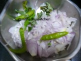 ONIONS,GREENCHILLIES AND CURRY LEAVES