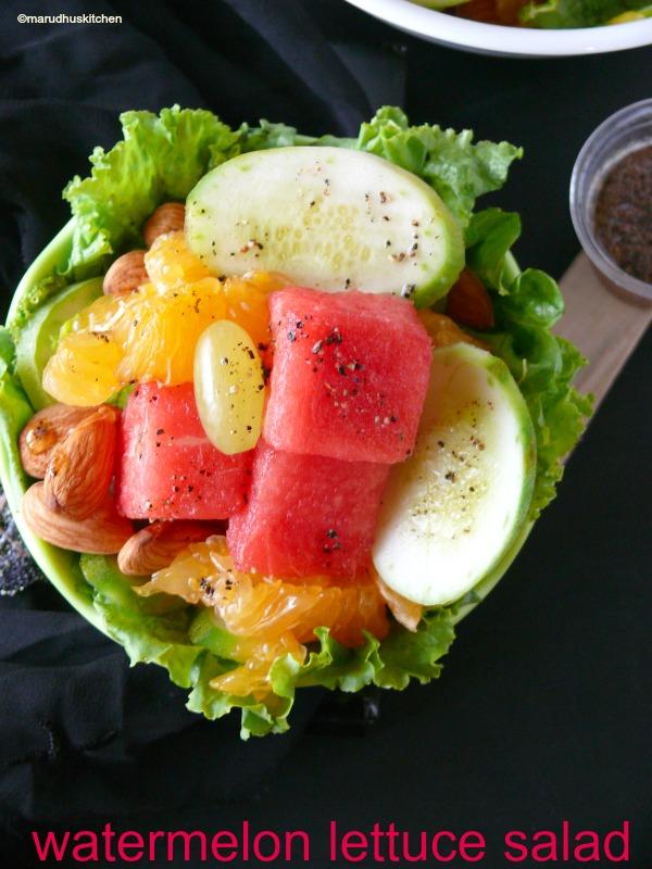 watermelon lettuce salad /marudhuskitchen