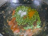 ADD PEAS WITH SALT AND TURMERIC