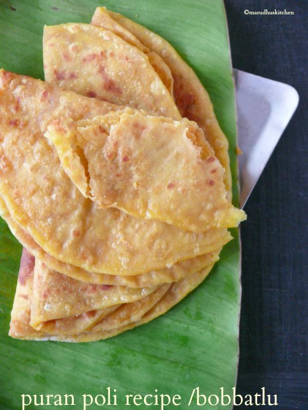 sweet puran poli recipe /bobbatlu/paruppu obbattu
