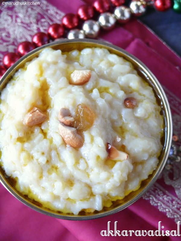 recipe for akkaravadisal  /milk pongal with jaggery
