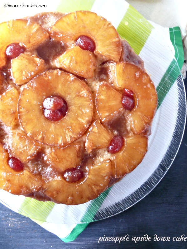 pineapple upside down cake dessert /marudhuskitchen