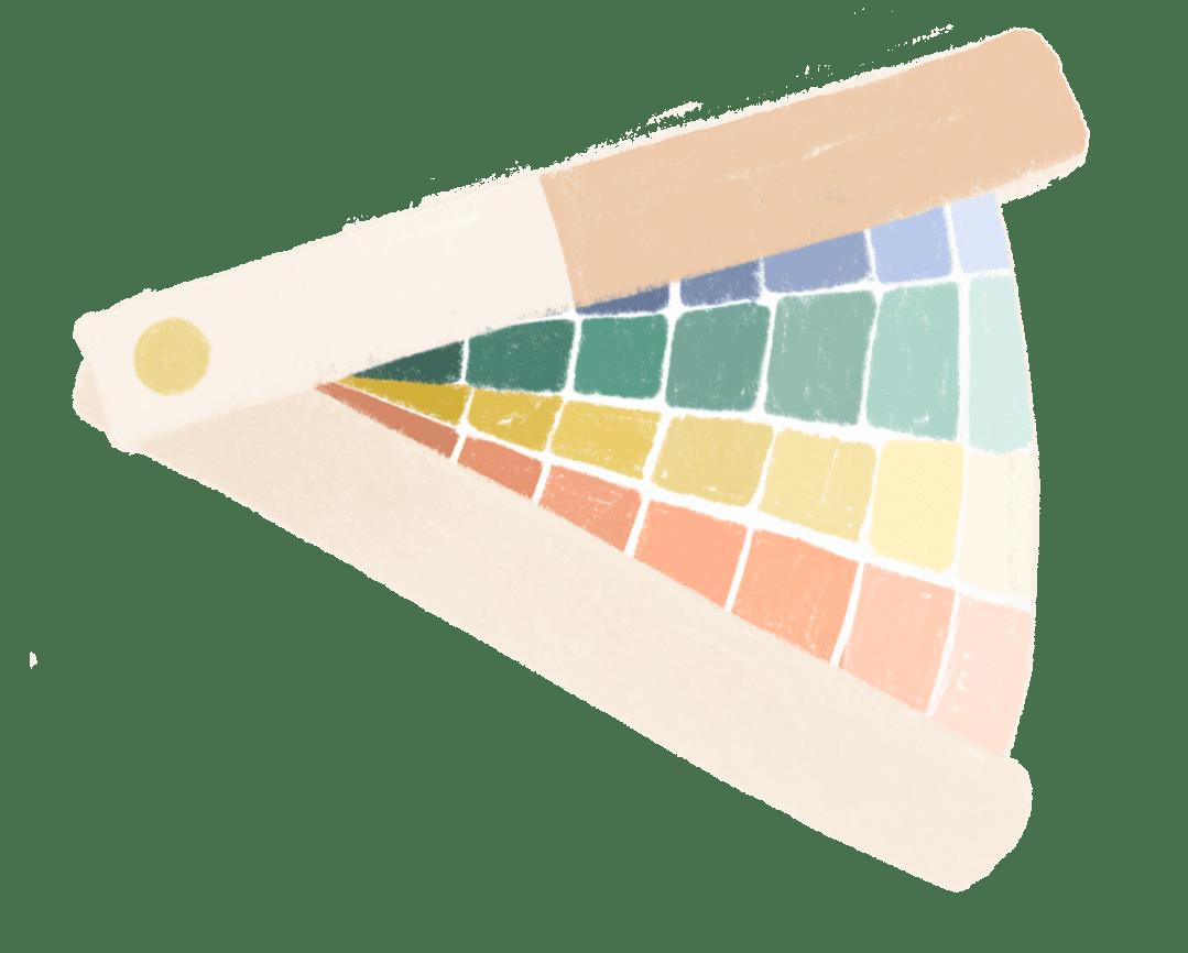 illustratie van een kleuren waaier