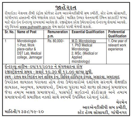 RNTCP Gandhinagar Recruitment for Microbiologist Post 2019