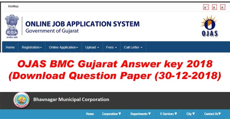 Bhavnagar Municipal Corporation (BMC) OJAS Gujarat Answer key / Question Paper