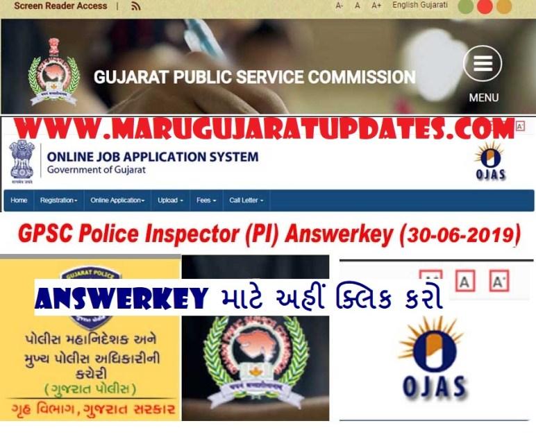 GPSC Police Inspector (PI) Exam Answerkey