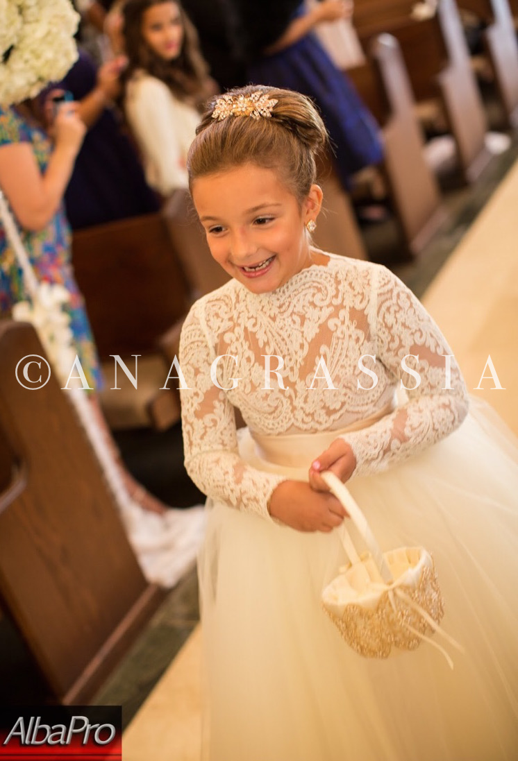 Alencon Lace Leotard Champagne Ivory Tulle Flower Girl Dress