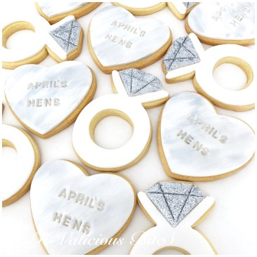 White & Silver Engagement Ring & Heart Cookies
