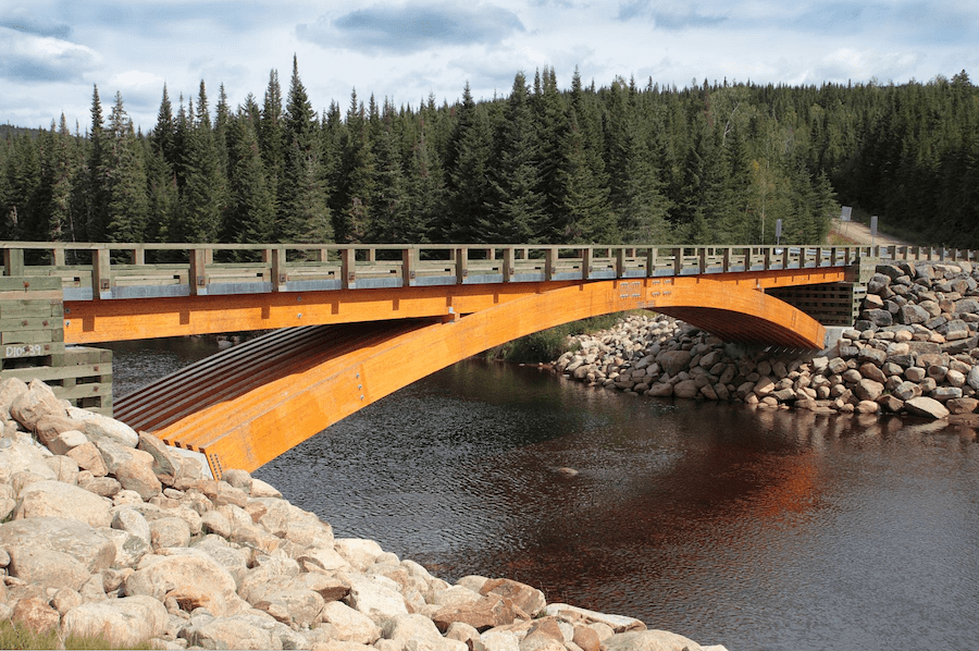 glulam bridge over the Montmorency River in Canada