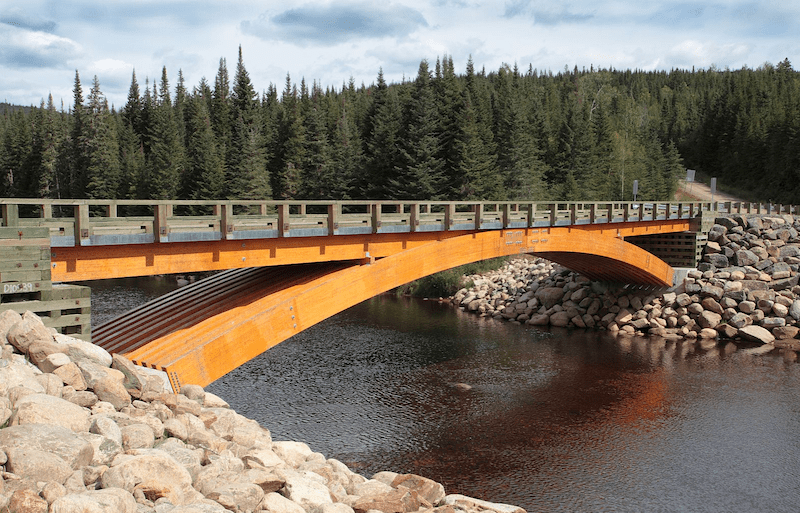 glulam bridge over the Montmorency River in Canada