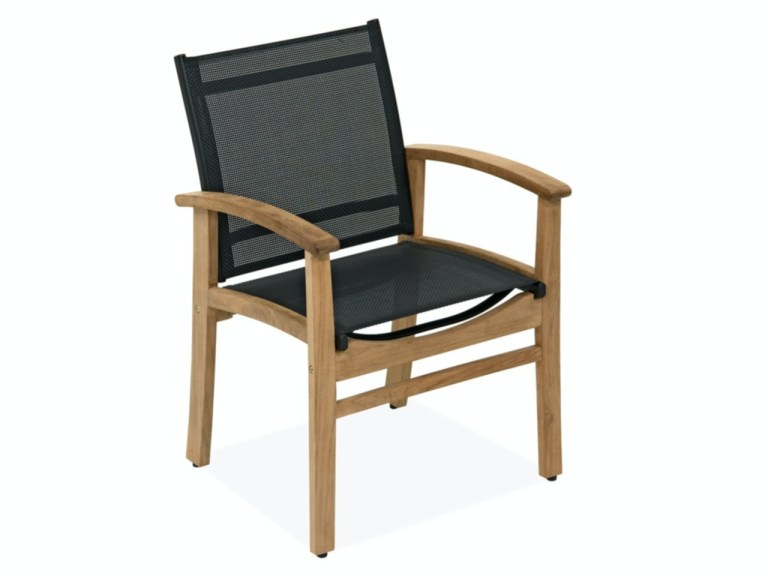 sedona natural stained solid teak sling dining chair