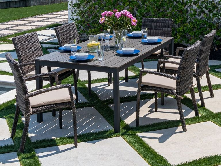 contempo dark grey aluminum and husk outdoor wicker 7 pc dining set with 72 x 41 in dining table