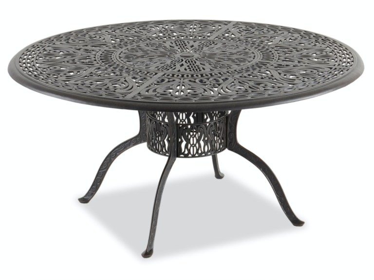 verona desert bronze cast aluminum 60 in dining table with inlaid lazy susan