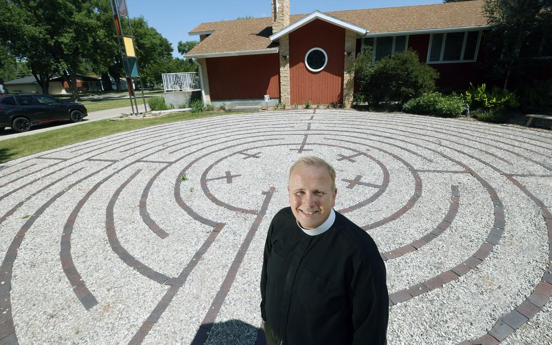 Father Jamie Parsley stands in the prayer labyrinth at St. Stephen's Episcopal Church in north Fargo. David Samson / The Forum